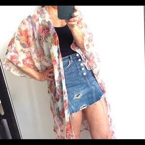 New Betsey Johnson Flowy Floral Wrap Cover-up